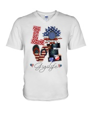 Flag Love Gigilife Sunflower V-Neck T-Shirt thumbnail