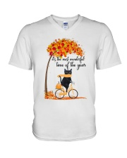 Autumn Cats V-Neck T-Shirt thumbnail