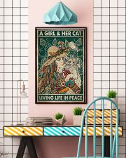 A girl and her cat living life in peace 11x17 Poster lifestyle-poster-6