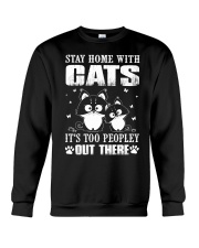 stay home with pitbulls it's too peopley out there Crewneck Sweatshirt thumbnail