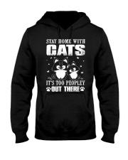 stay home with pitbulls it's too peopley out there Hooded Sweatshirt front