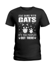 stay home with pitbulls it's too peopley out there Ladies T-Shirt thumbnail