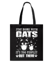 stay home with pitbulls it's too peopley out there Tote Bag thumbnail