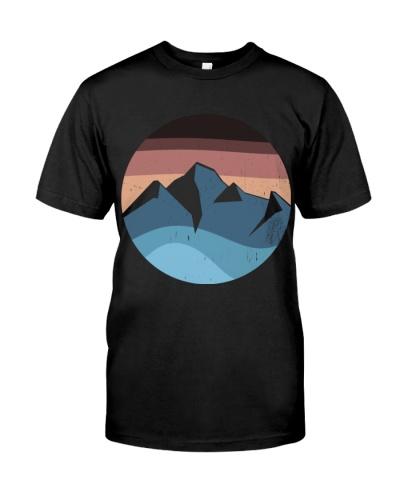 blue mountain orange sunset logo vintage T Shirt