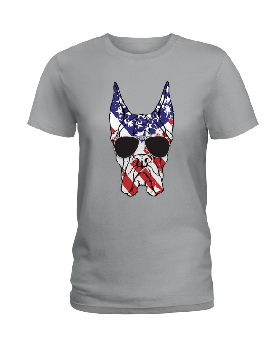 Great Danes American Flag - Happy 4th of July Ladies T-Shirt