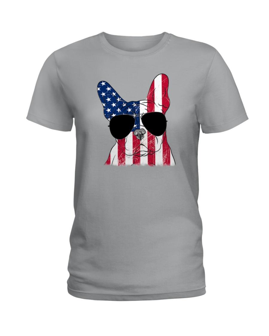 French Bulldog - Happy 4th of July Ladies T-Shirt