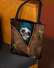 Sloth Leather Pattern Print All-over Tote aos-all-over-tote-lifestyle-front-02