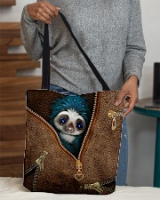 Sloth Leather Pattern Print All-over Tote aos-all-over-tote-lifestyle-front-10