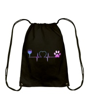 Wine Dog Heartbeat Drawstring Bag thumbnail