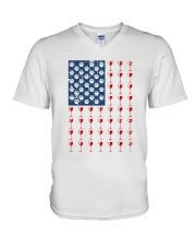 Dog Flag Mix Wine  V-Neck T-Shirt thumbnail