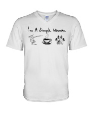 Yoga Coffee and Dogs V-Neck T-Shirt thumbnail