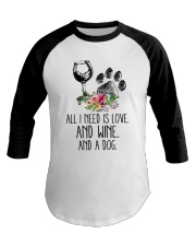 Love Wine Dog pillow Baseball Tee thumbnail
