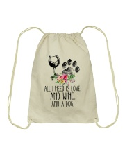 Love Wine Dog pillow Drawstring Bag thumbnail