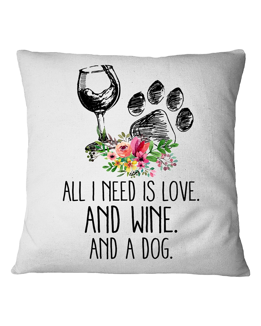 Love Wine Dog pillow Square Pillowcase