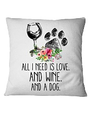 Love Wine Dog pillow Square Pillowcase front