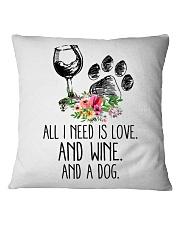 Love Wine Dog pillow Square Pillowcase thumbnail