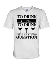 Wine - Stupid Question V-Neck T-Shirt thumbnail