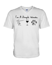 Yoga Wine and Dogs V-Neck T-Shirt thumbnail