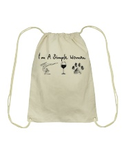 Yoga Wine and Dogs Drawstring Bag thumbnail