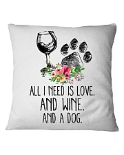 Love Wine Dog pillow Square Pillowcase thumbnail