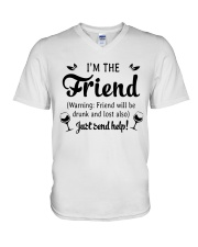 Wine I'm The Friend V-Neck T-Shirt thumbnail