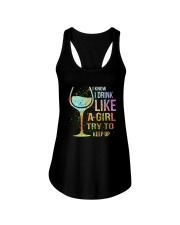 Wine I Know I Drink Like A Girl Try To Keep Up Ladies Flowy Tank thumbnail