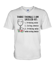 Wine Three Things Skilled V-Neck T-Shirt tile