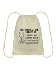 Wine Three Things Skilled Drawstring Bag thumbnail
