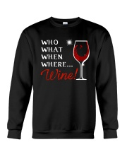 Wine Who What When Where Crewneck Sweatshirt thumbnail