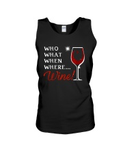 Wine Who What When Where Unisex Tank thumbnail