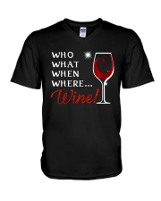 Wine Who What When Where V-Neck T-Shirt thumbnail
