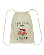 I Just Freaking Love Wine  Drawstring Bag thumbnail
