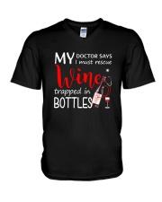 Wine My Doctor Says V-Neck T-Shirt thumbnail