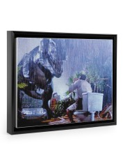 Tyrannosaurus Rex Print - Funny Bathroom  14x11 Black Floating Framed Canvas Prints thumbnail