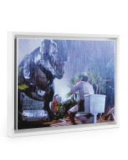 Tyrannosaurus Rex Print - Funny Bathroom  14x11 White Floating Framed Canvas Prints thumbnail