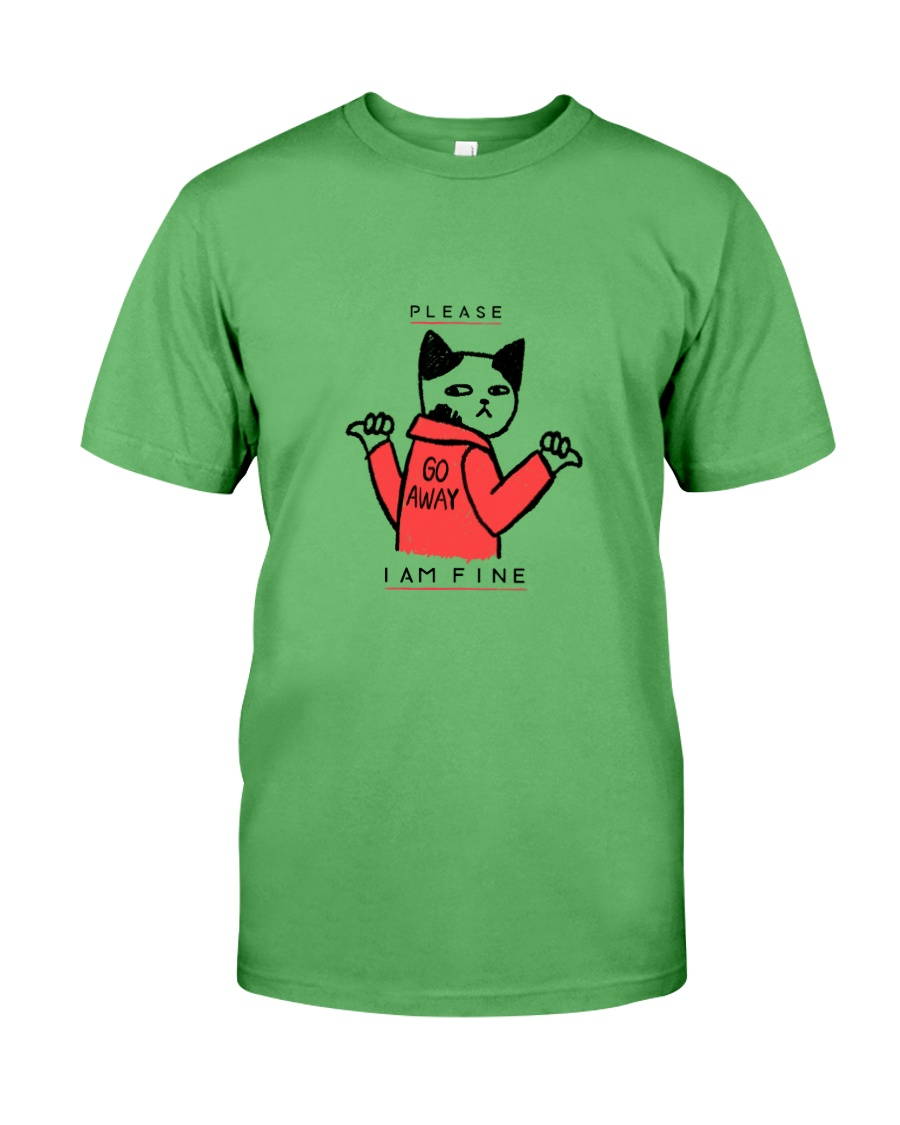 A Cute Cat No Wanting Company Go Away I am Fine  Premium Fit Mens Tee