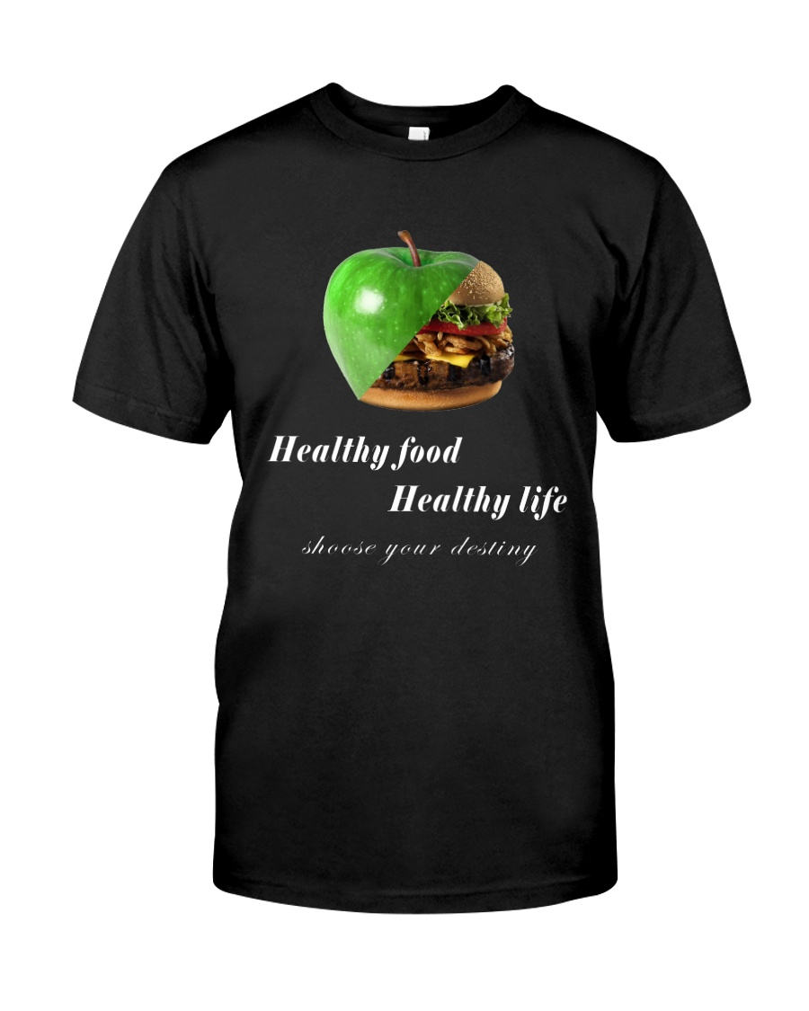 healthy food healthy life in black Classic T-Shirt