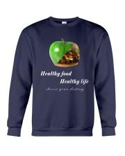 healthy food healthy life in black Crewneck Sweatshirt thumbnail