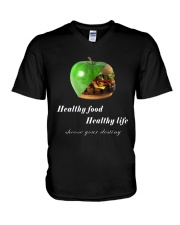 healthy food healthy life in black V-Neck T-Shirt thumbnail