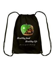 healthy food healthy life in black Drawstring Bag thumbnail