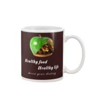 healthy food healthy life in black Mug thumbnail