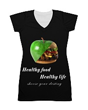 healthy food healthy life in black All-over Dress thumbnail