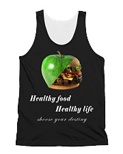 healthy food healthy life in black All-over Unisex Tank thumbnail
