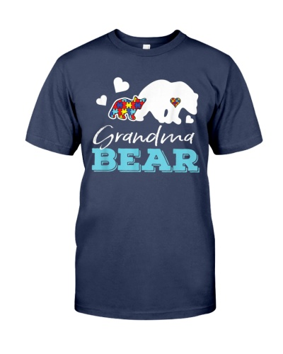 Puzzle Heart Grandma Bear Autism Awareness T Shirt