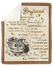 """Skull To My Boyfriend Want You To Believe Deep Sherpa Fleece Blanket - 50"""" x 60"""" thumbnail"""