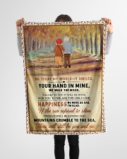 """Family Your Hand In Mine Small Fleece Blanket - 30"""" x 40"""" aos-coral-fleece-blanket-30x40-lifestyle-front-14"""