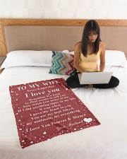 """Family To My Wife Sometime It's Hard Small Fleece Blanket - 30"""" x 40"""" aos-coral-fleece-blanket-30x40-lifestyle-front-11"""