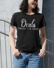 Doula Relax I'm Here Premium Fit Ladies Tee apparel-premium-fit-ladies-tee-lifestyle-front-34