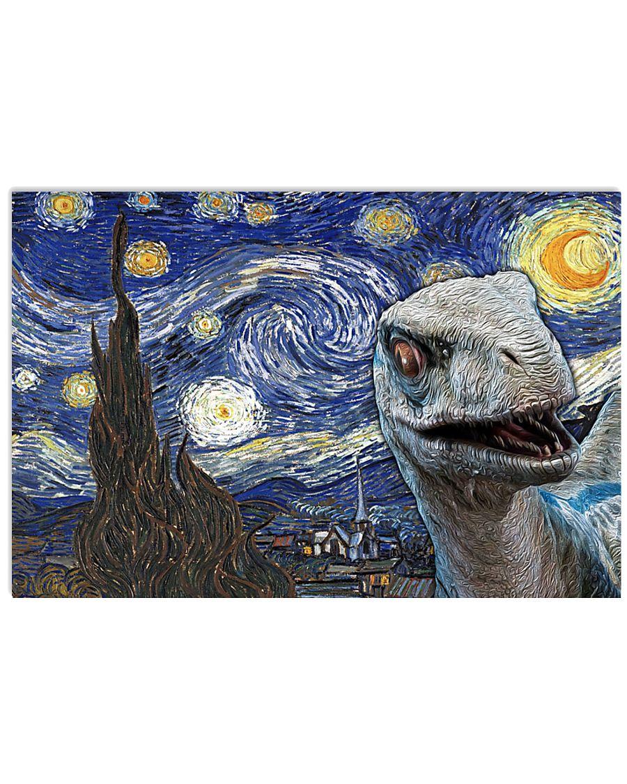 Funny Blue Dinosaur  17x11 Poster