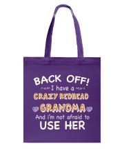 CRAZY REDHEAD GRANDMA T-SHIRT TANK TOP HOODIE HAT Tote Bag front